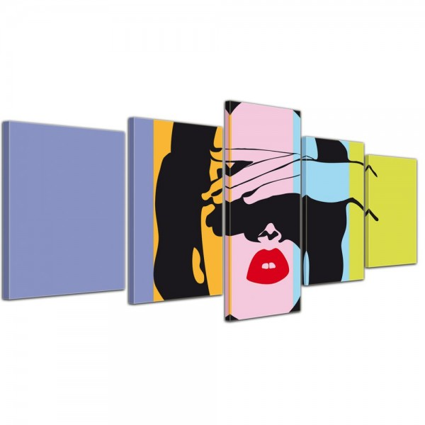 SALE Leinwandbild - Retro Frau Pop Art Style - 200x80 cm 5tlg