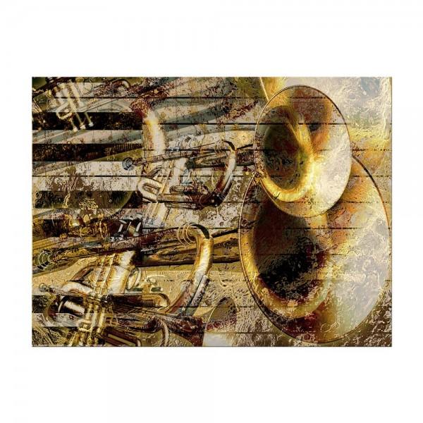 Leinwandbild - Trompete und Piano abstrakt