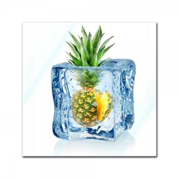 Glasbild - Eiswürfel Ananas