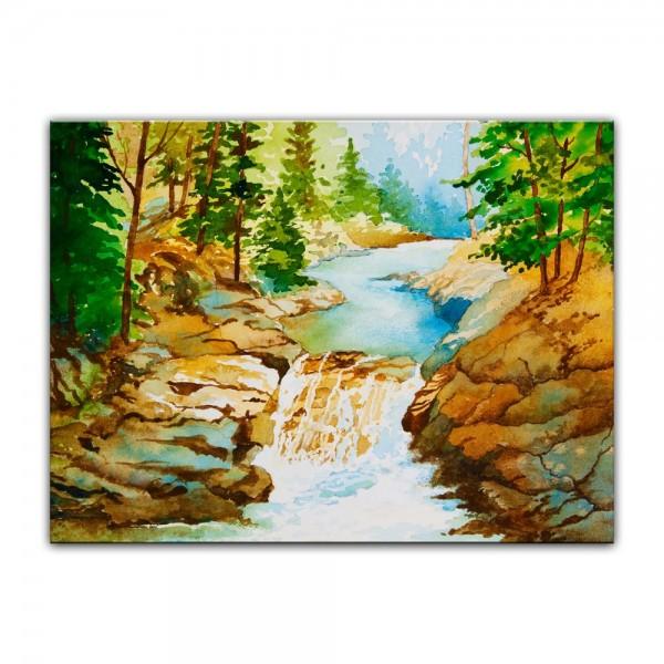 Leinwandbild - Aquarell Wasserfall
