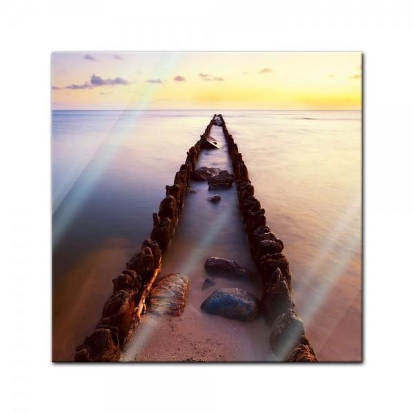 Glasbild - Sonnenuntergang über der Nordsee - Friesland
