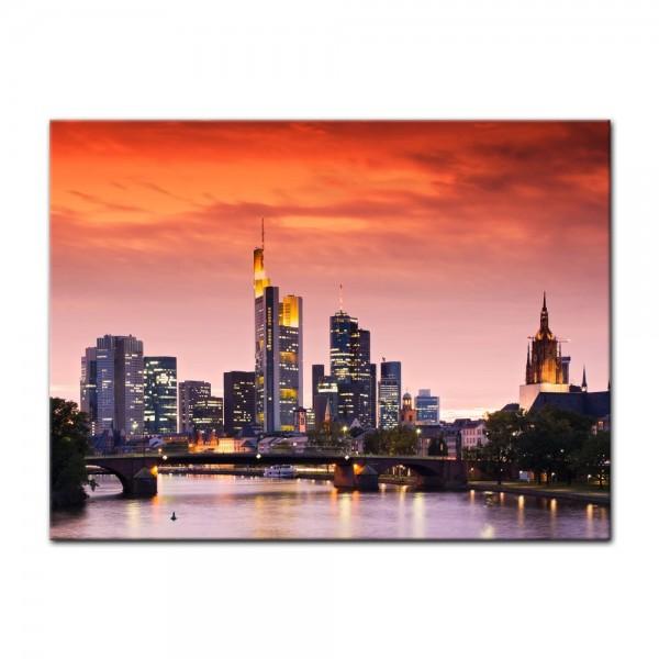 Leinwandbild - Frankfurt Skyline - Deutschland bei Nacht - Deutschland