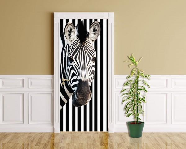 Türaufkleber - Zebra vor einem gestreiften Hintergrund