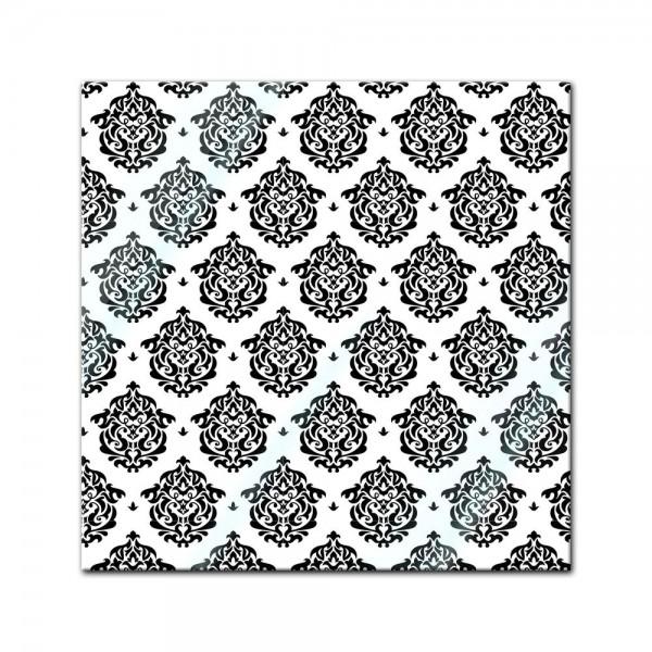 Glasbild - Florales Muster Tapete II