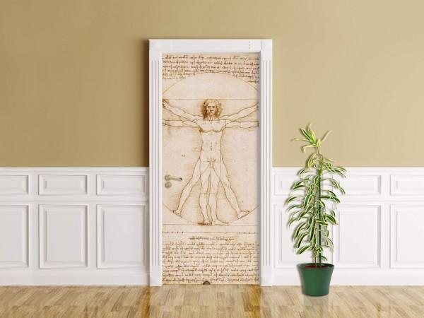 Türaufkleber Leonardo da Vinci - Alte Meister - Vitruvianischer Mensch