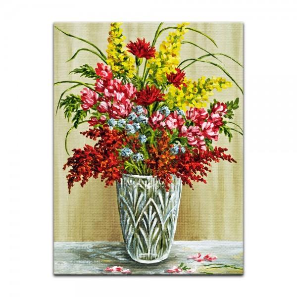 Leinwandbild - Bouquet in einer Kristallvase