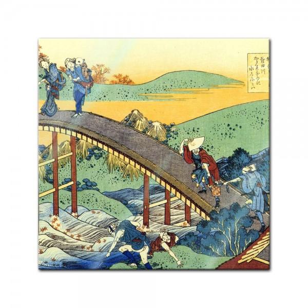 Glasbild Katsushika Hokusai - Alte Meister - Ariwara no Narihira Ason