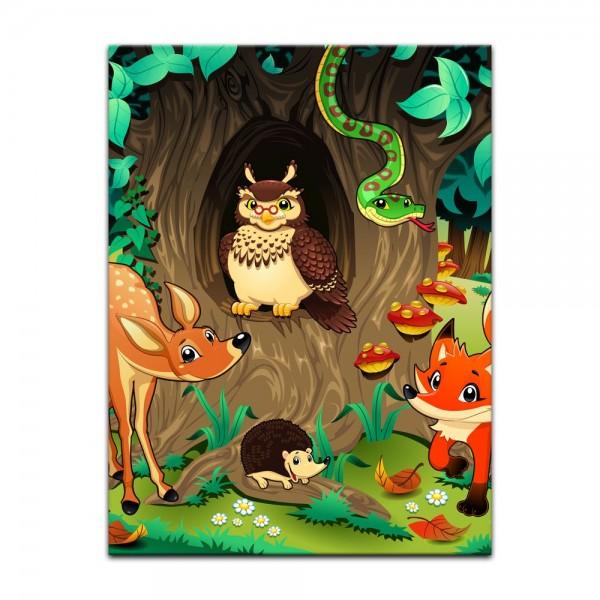 Leinwandbild - Kinderbild - Waldtiere III Cartoon - Waldgeschichten bei Frau Eule