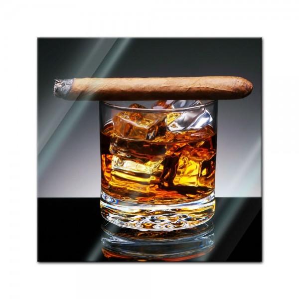 Glasbild - Zigarre am Drink