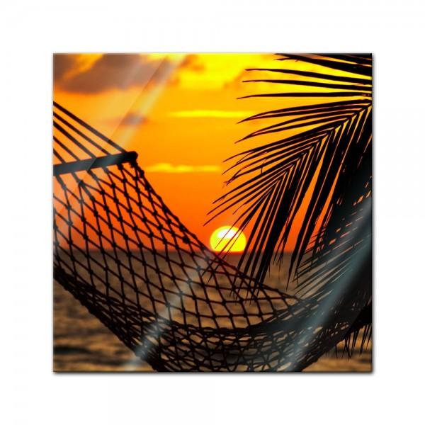 Glasbild - Palmen, Hängematte und Sonnenuntergang