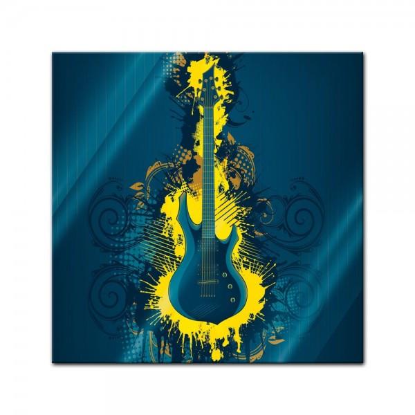 Glasbild - E-Gitarre Illustration - gelb
