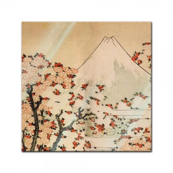 Glasbild Katsushika Hokusai - Alte Meister - Blick auf den Fujijama mit blühenden Kirschbäumen
