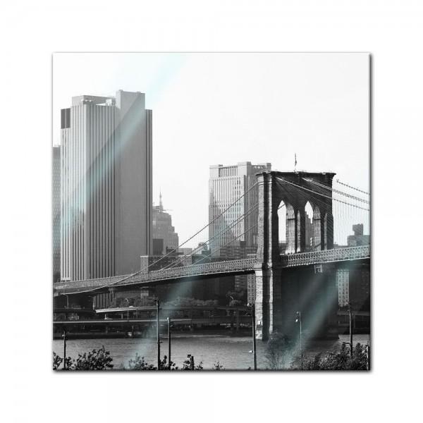 Glasbild - Brooklyn Bridge NYC