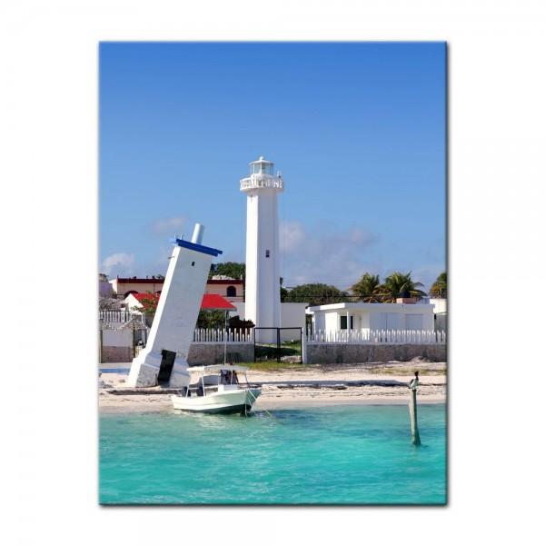 Leinwandbild - Puerto Morelos Mexico Leuchtturm