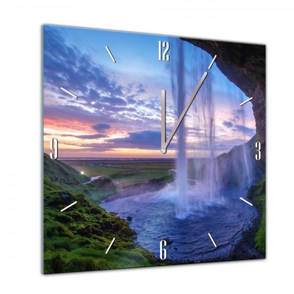 Glasuhr - Sonne, Strand und Meer - Seljalandsfoss Wasserfall in Island - 40x40cm