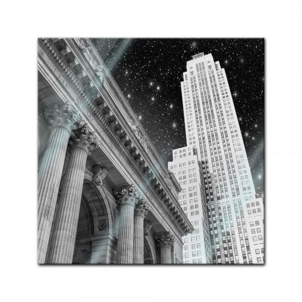 Glasbild - New York in der Nacht - USA