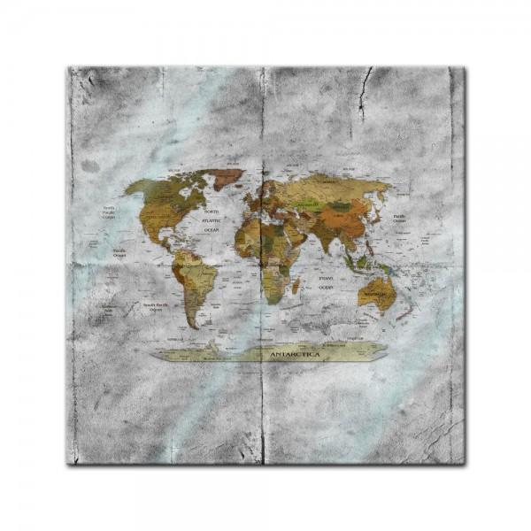 Glasbild - Weltkarte retro II sw