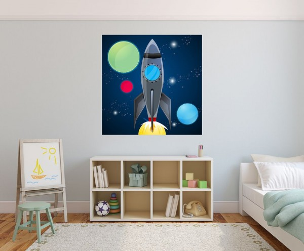 selbstklebende Fototapete - Kinderbild - Rakete