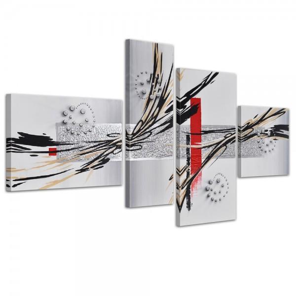 Abstrakte Kunst handgemaltes Leinwandbild 120x70cm 4 teilig 3026
