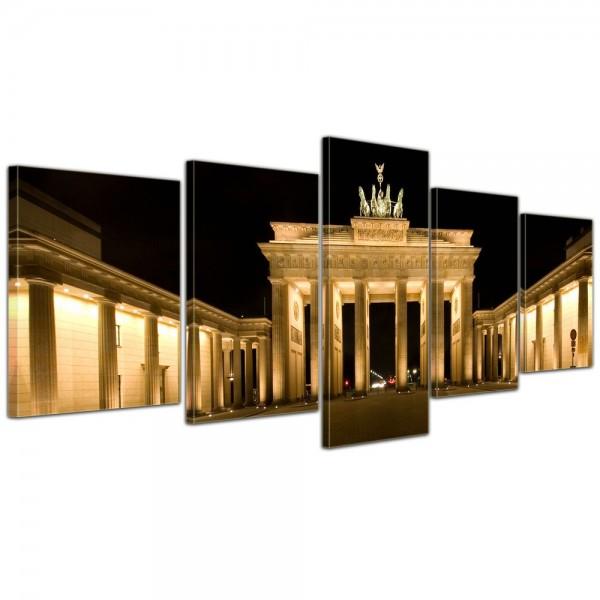 SALE Leinwandbild - Brandenburger Tor - Berlin - 200x80 cm 5tlg