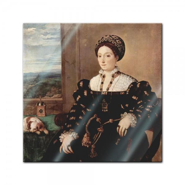 Glasbild Tizian - Alte Meister - Porträt der Eleonora Gonzaga della Rovere
