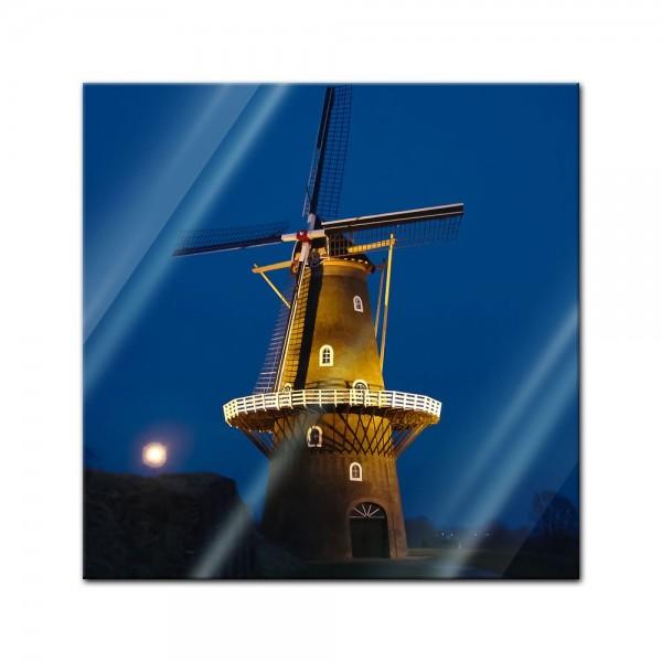 Glasbild - Windmühle am Abend