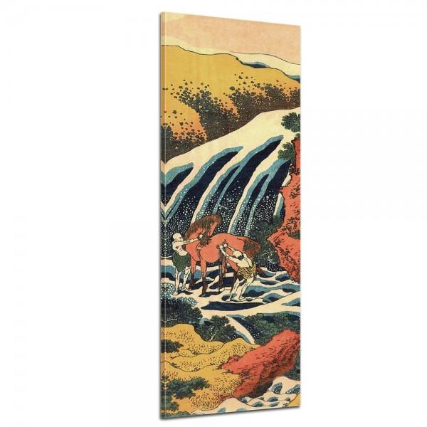SALE Leinwandbild - Katsushika Hokusai Yoshitsune Umarai Wasserfall - Panorama 40x120 cm