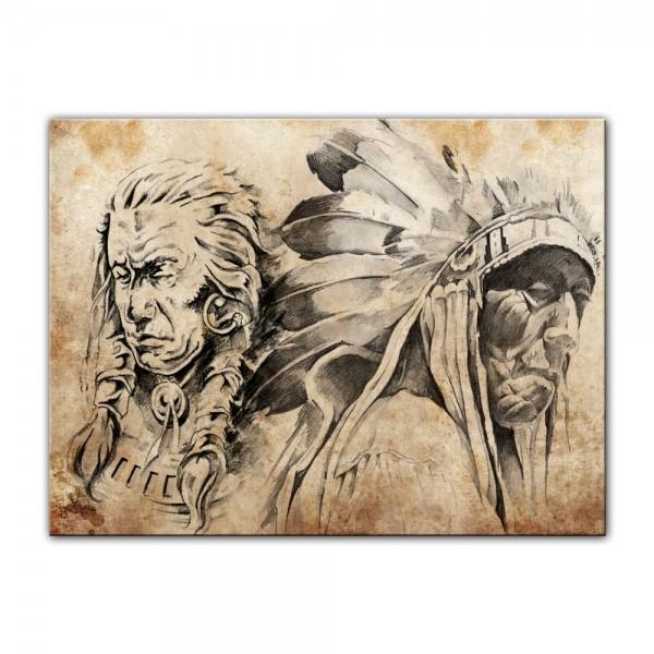 Leinwandbild - Indianer VII, Tattoo Art