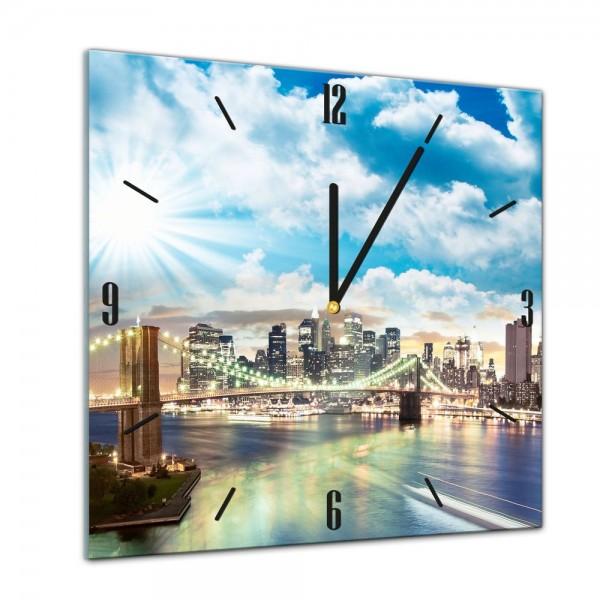 Glasuhr - Städte, Seen & Landschaften - New York City - 40x40cm