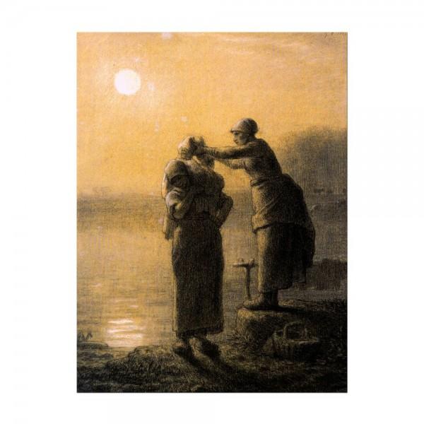 Leinwandbild - Jean-François Millet - Wäschetrocknen im Mondschein