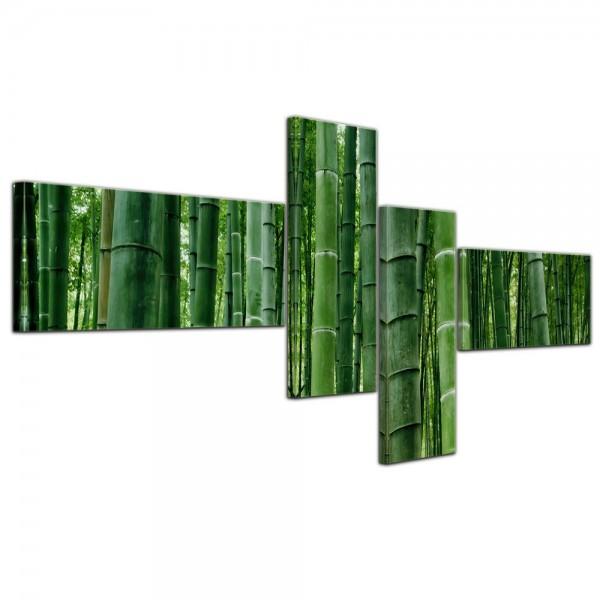 SALE Leinwandbild - Bambuswald in Sichuan China - 140x65 cm 4tlg