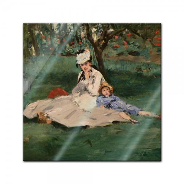 Glasbild Edouard Manet - Alte Meister - Die Familie Monet in ihrem Garten in Argenteuil