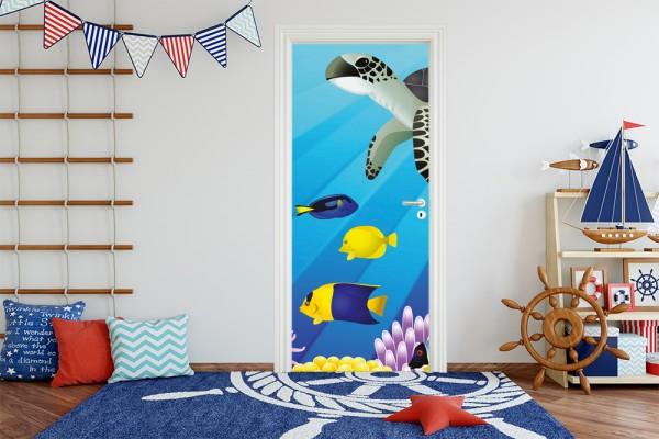Türaufkleber - Kinderbild Unterwasser Tiere II
