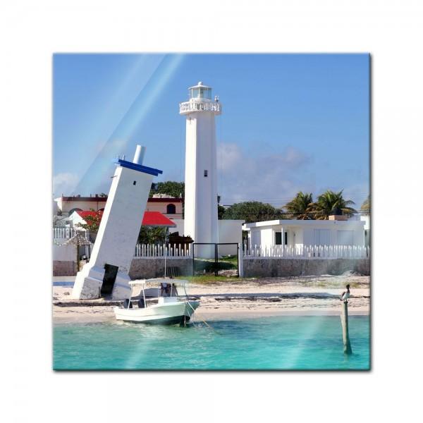 Glasbild - Puerto Morelos Mexico Leuchtturm