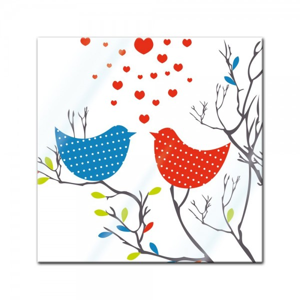 Glasbild - Verliebte Vögel