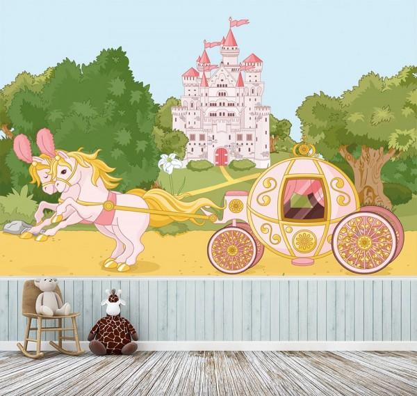 selbstklebende Fototapete - Kinderbild - Pferdekutsche mit Schloss - Märchenkutsche