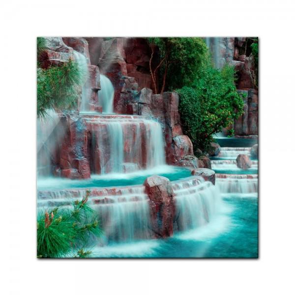 Glasbild - Wasserfall vor dem Wynn Hotel - Las Vegas