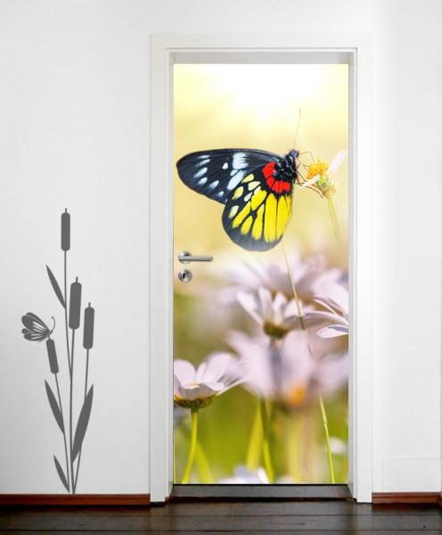 SALE - Türaufkleber Schmetterling auf einer Blume 90x200 cm