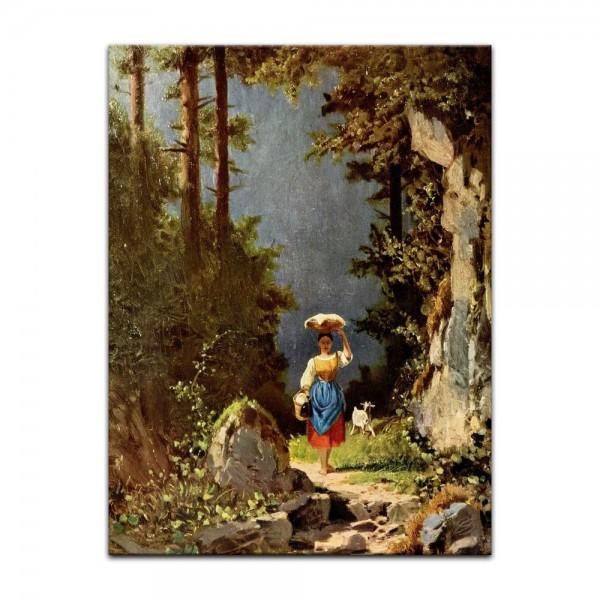 Leinwandbild - Carl Spitzweg - Mädchen mit Ziege