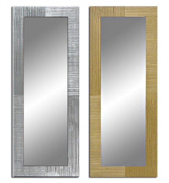 Wandspiegel mit handbemaltem Rahmen - Streifenoptik - ca. 135x45 cm