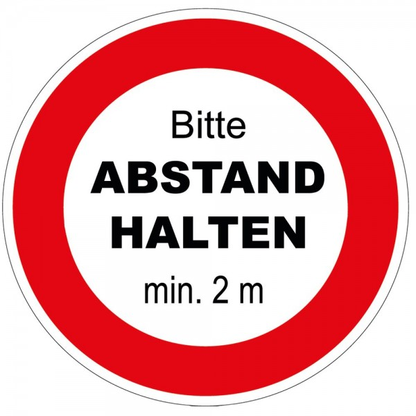 Fußboden-Aufkleber Hinweis Warnhinweis - Abstand halten min. 2 m