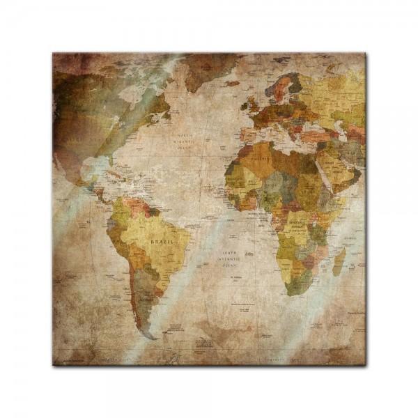 Glasbild - Weltkarte retro