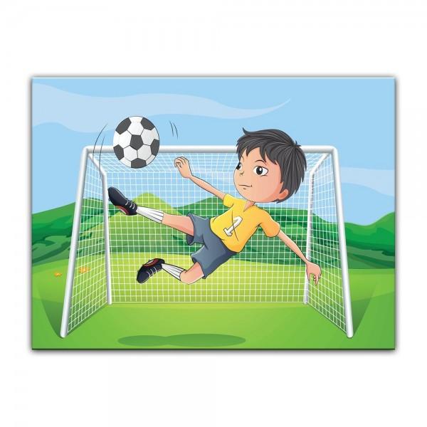 Leinwandbild - Kinderbild - Kicker Cartoon