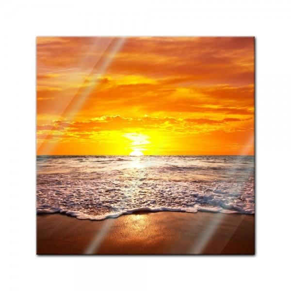 Glasbild - Strand Sonnenuntergang I