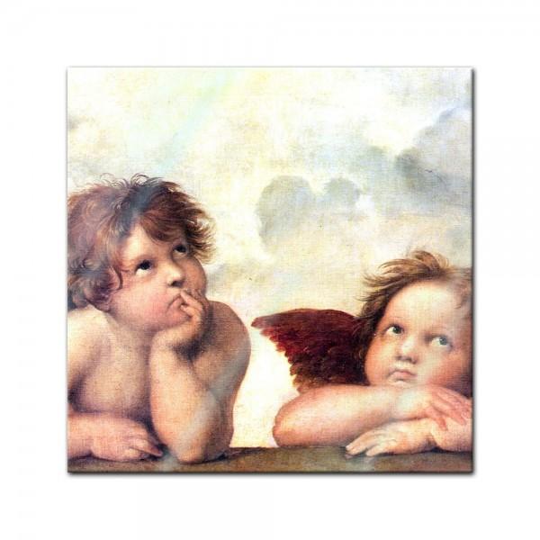 Glasbild Raffael - Alte Meister - Engel - Detail Sixtinische Madonna
