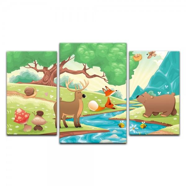 Leinwandbild - Kinderbild - Waldtiere II Cartoon - Fuchs, Elch und Bär