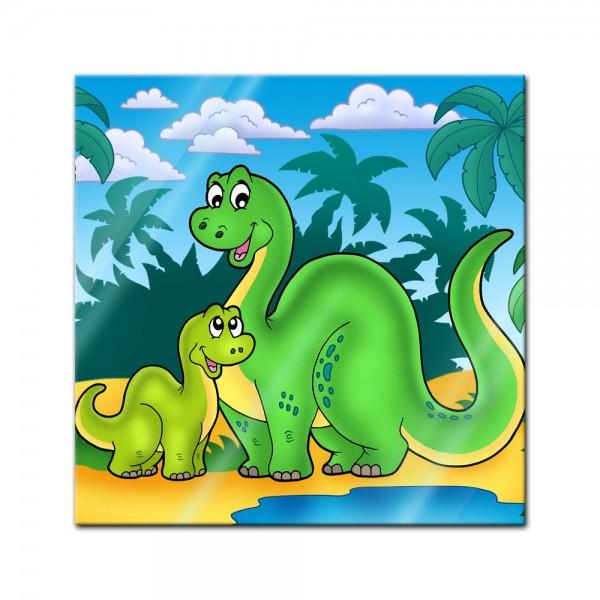 Glasbild - Dino Kinderbild - Familie