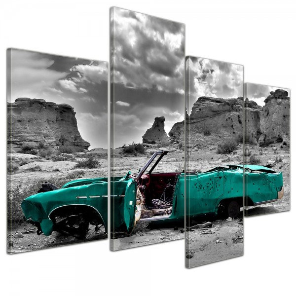 SALE Leinwandbild - Cadillac türkis - 120x80 cm 4tlg