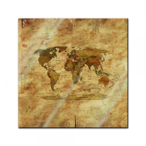 Glasbild - Weltkarte retro II farbig