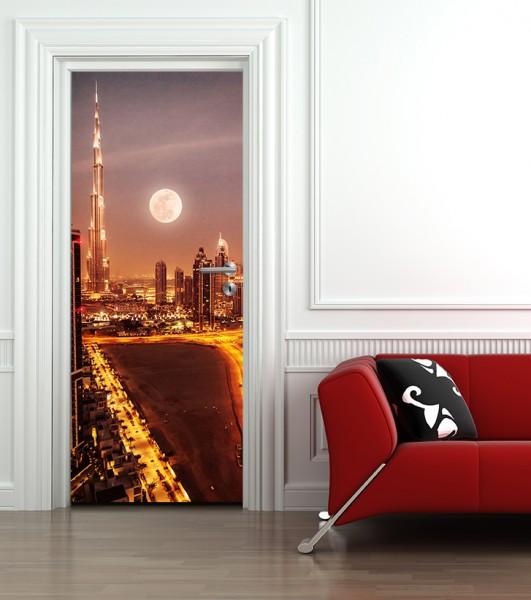 Türaufkleber Dubai im Mondlicht